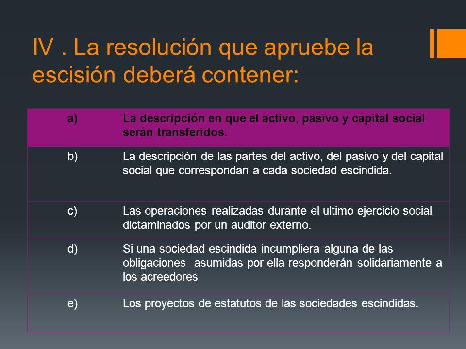 IV . La resolución que apruebe la escisión deberá contener: