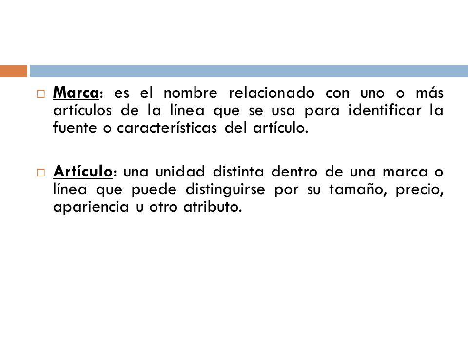 Marca: es el nombre relacionado con uno o más artículos de la línea que se usa para identificar la fuente o características del artículo.