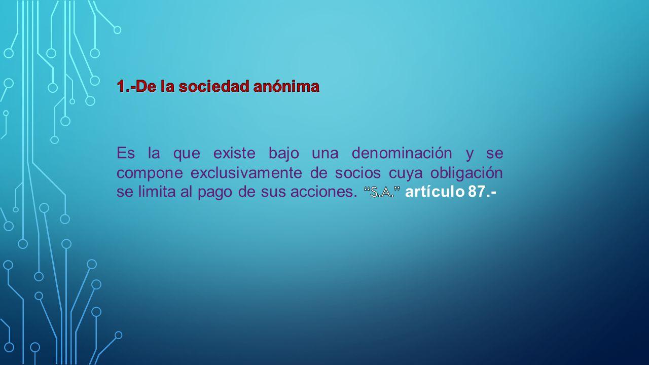 1.-De la sociedad anónima