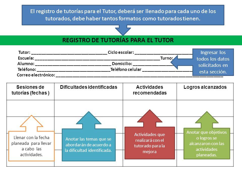 REGISTRO DE TUTORÍAS PARA EL TUTOR