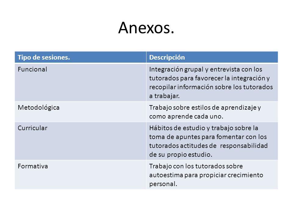 Anexos. Tipo de sesiones. Descripción Funcional
