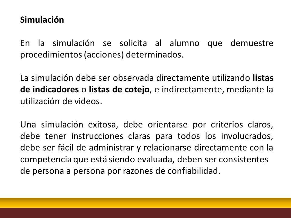 Simulación En la simulación se solicita al alumno que demuestre procedimientos (acciones) determinados.