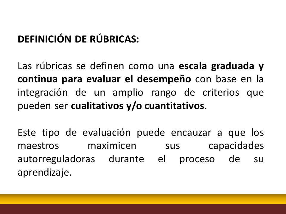 DEFINICIÓN DE RÚBRICAS: