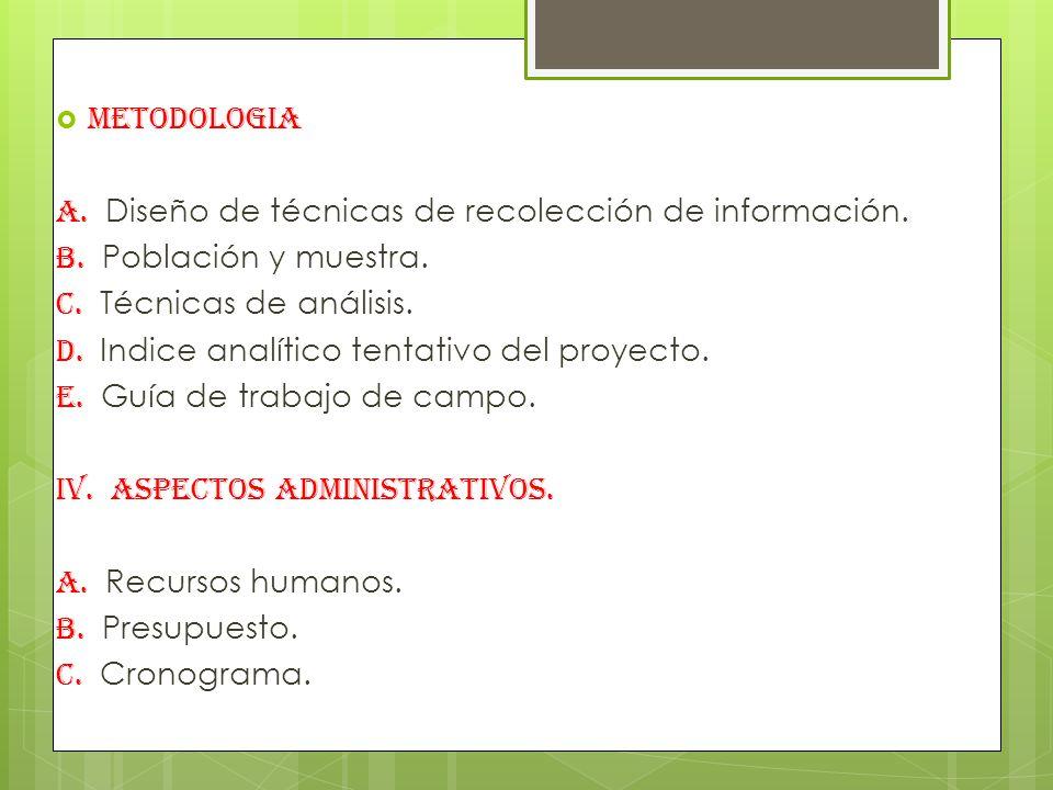 METODOLOGIA A. Diseño de técnicas de recolección de información. B. Población y muestra. C. Técnicas de análisis.