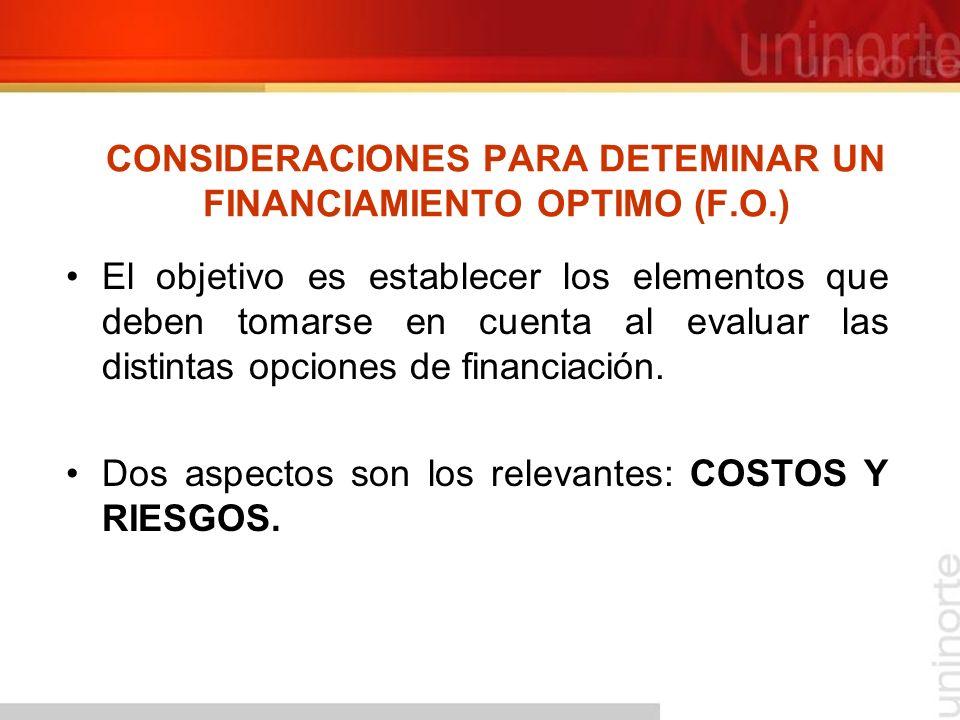 CONSIDERACIONES PARA DETEMINAR UN FINANCIAMIENTO OPTIMO (F.O.)