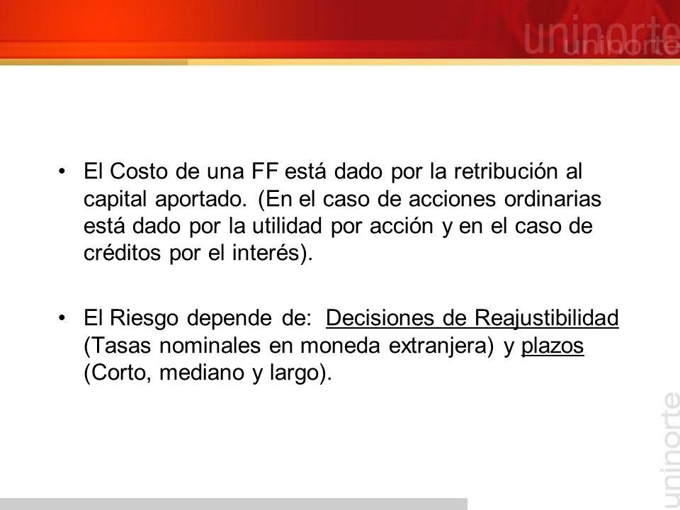El Costo de una FF está dado por la retribución al capital aportado