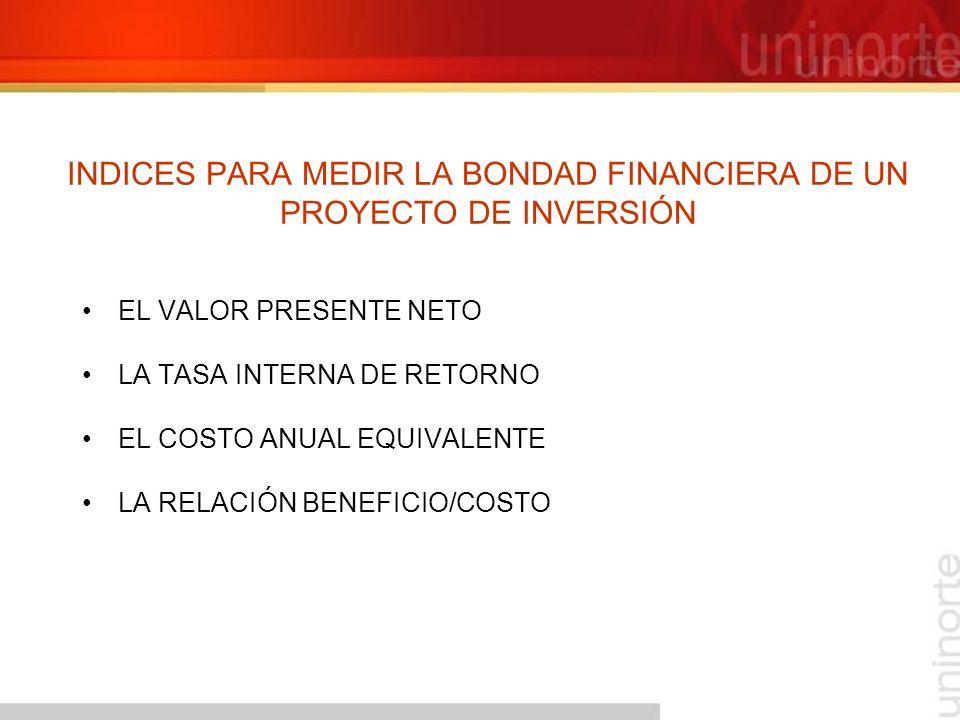 INDICES PARA MEDIR LA BONDAD FINANCIERA DE UN PROYECTO DE INVERSIÓN