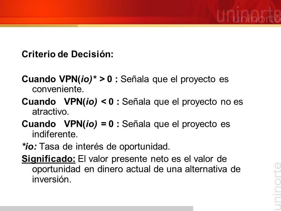 Criterio de Decisión: Cuando VPN(io)* > 0 : Señala que el proyecto es conveniente. Cuando VPN(io) < 0 : Señala que el proyecto no es atractivo.