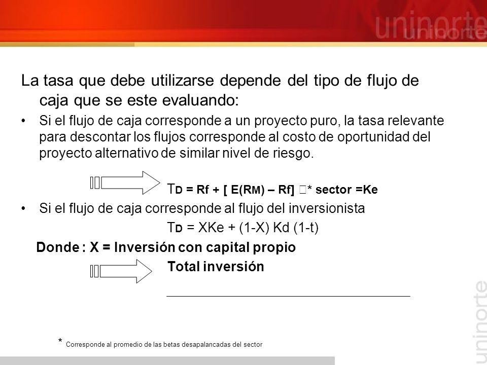 La tasa que debe utilizarse depende del tipo de flujo de caja que se este evaluando: