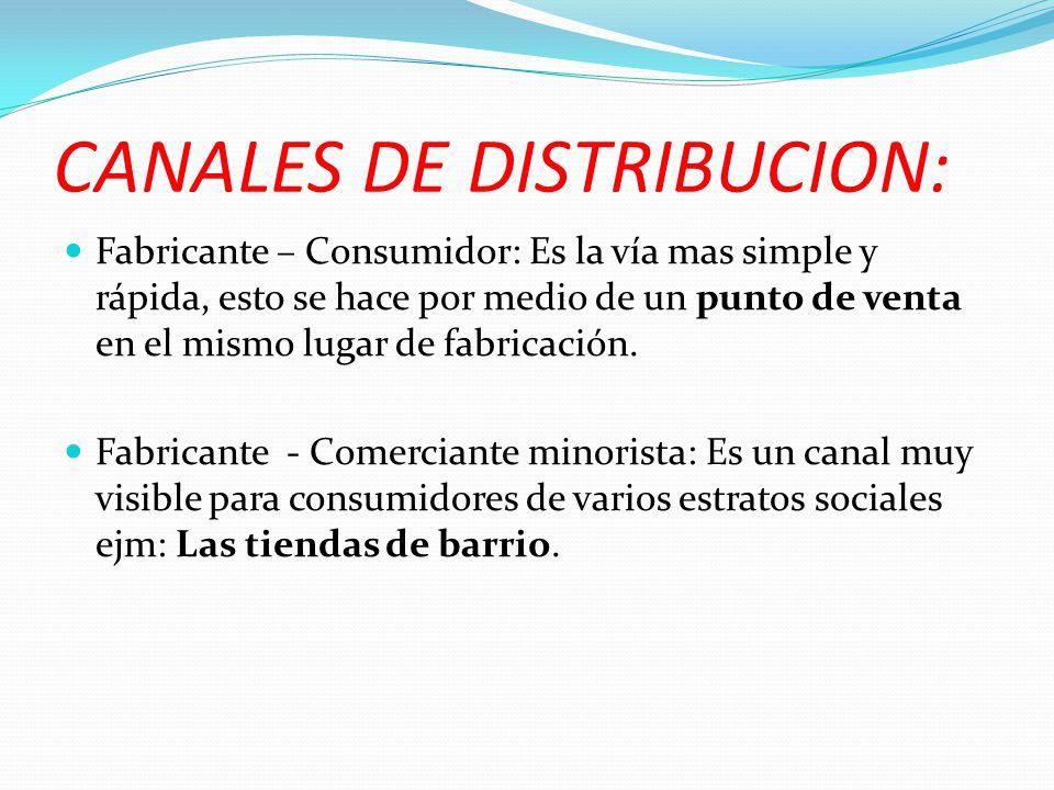 CANALES DE DISTRIBUCION: