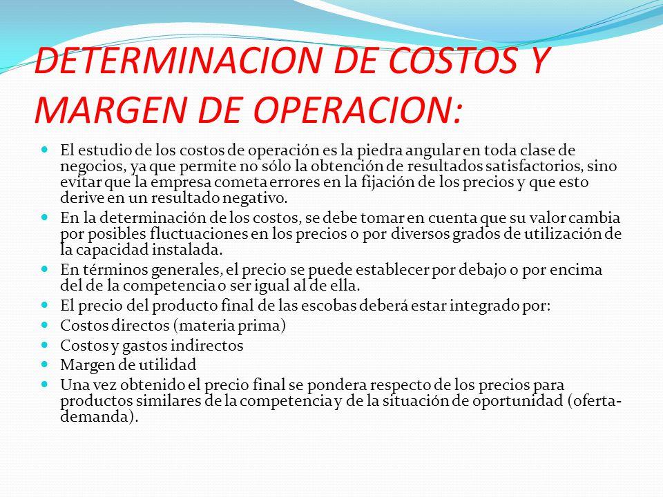 DETERMINACION DE COSTOS Y MARGEN DE OPERACION: