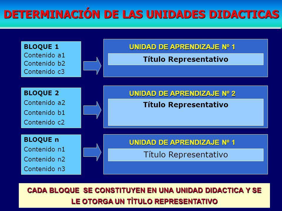 DETERMINACIÓN DE LAS UNIDADES DIDACTICAS