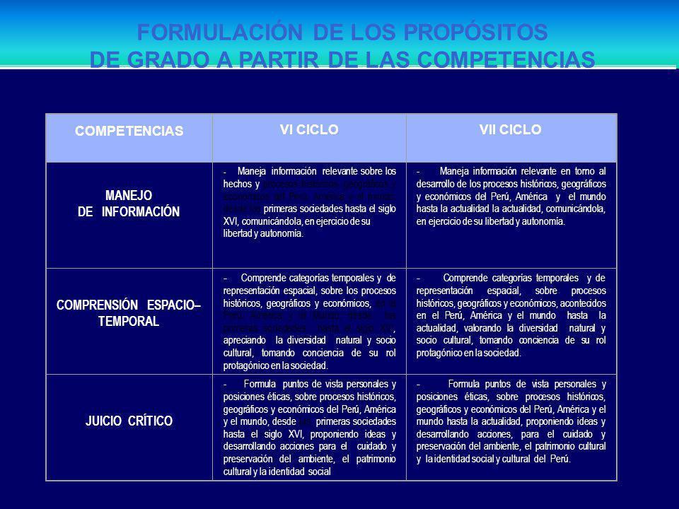 FORMULACIÓN DE LOS PROPÓSITOS DE GRADO A PARTIR DE LAS COMPETENCIAS