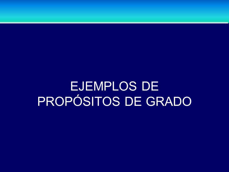 EJEMPLOS DE PROPÓSITOS DE GRADO