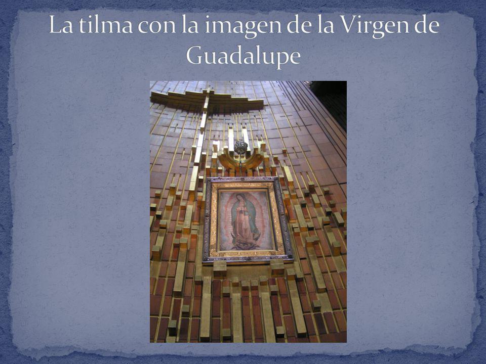 La tilma con la imagen de la Virgen de Guadalupe