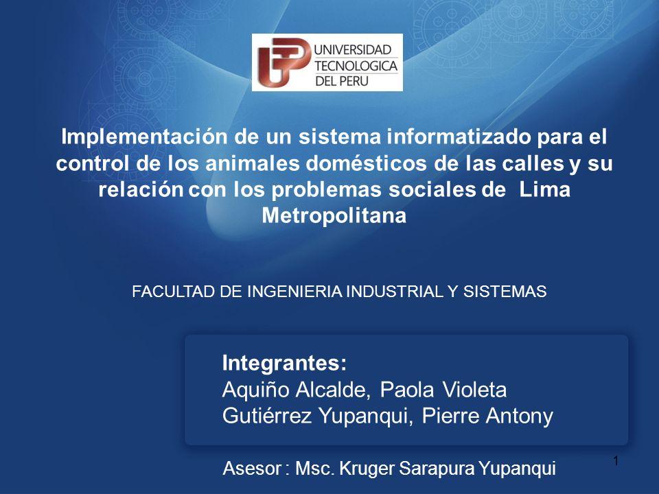 Implementación de un sistema informatizado para el control de los animales domésticos de las calles y su relación con los problemas sociales de Lima Metropolitana