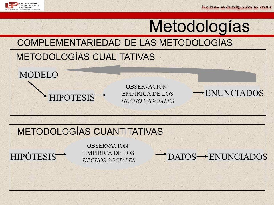 Metodologías COMPLEMENTARIEDAD DE LAS METODOLOGÍAS