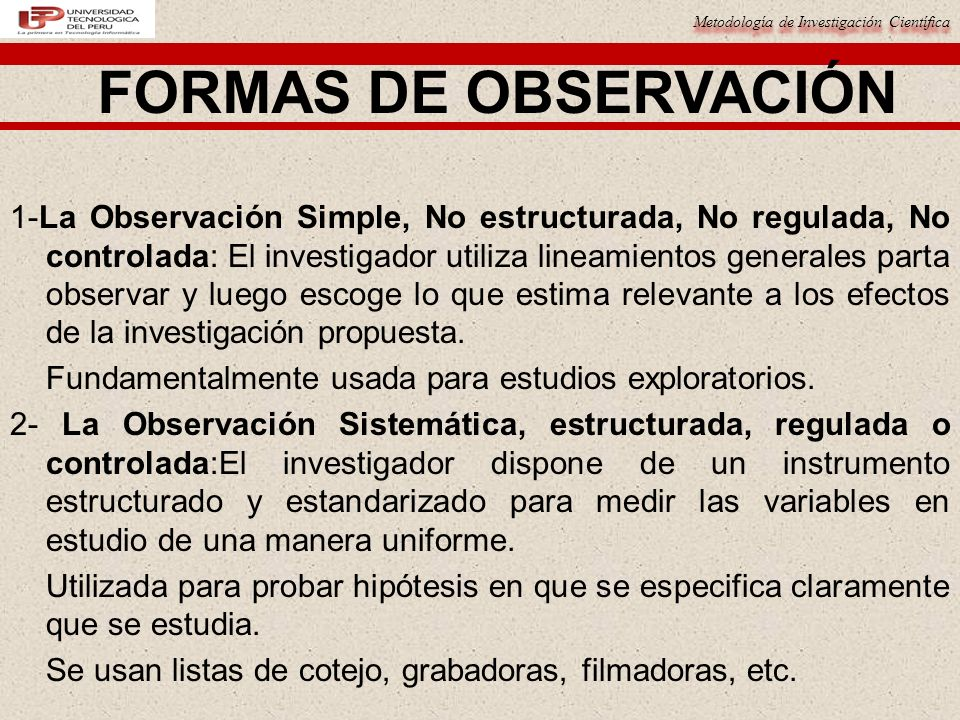 FORMAS DE OBSERVACIÓN