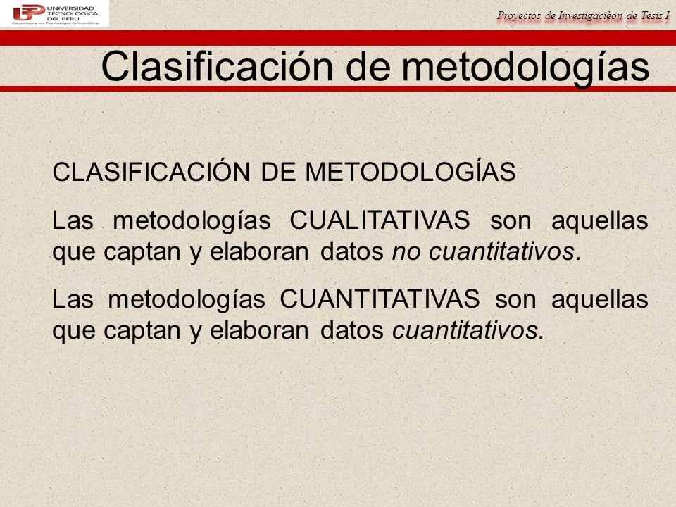 Clasificación de metodologías