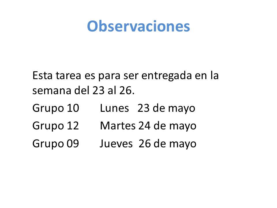 Observaciones Esta tarea es para ser entregada en la semana del 23 al 26. Grupo 10 Lunes 23 de mayo.