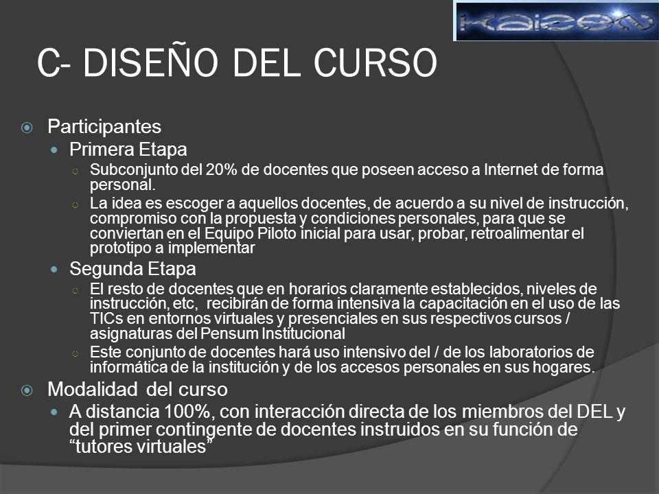 C- DISEÑO DEL CURSO Participantes Modalidad del curso Primera Etapa