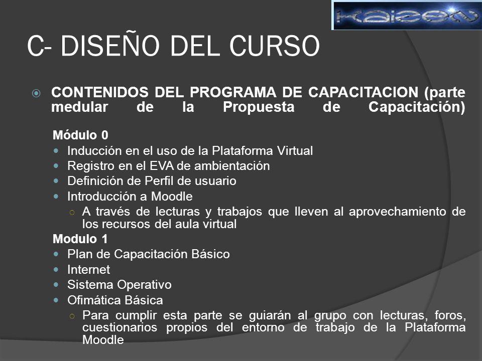 C- DISEÑO DEL CURSO CONTENIDOS DEL PROGRAMA DE CAPACITACION (parte medular de la Propuesta de Capacitación)