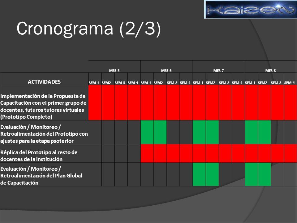 Cronograma (2/3) MES 5. MES 6. MES 7. MES 8. ACTIVIDADES. SEM 1. SEM2. SEM 3. SEM 4.