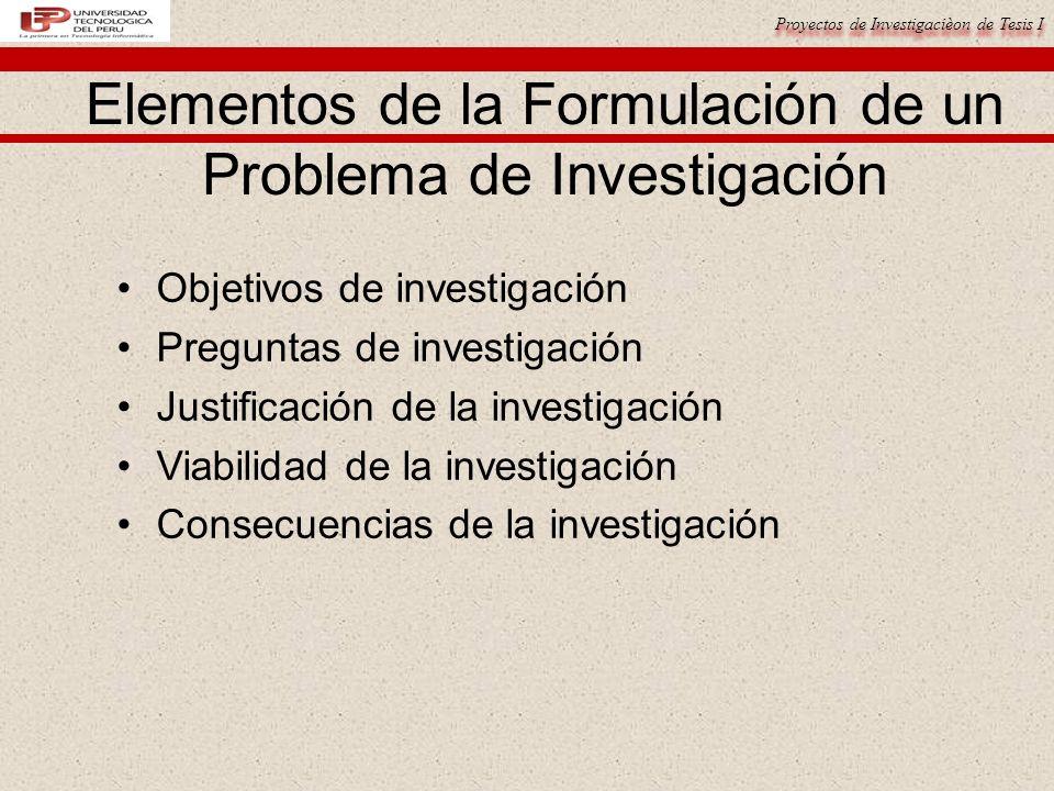 Elementos de la Formulación de un Problema de Investigación