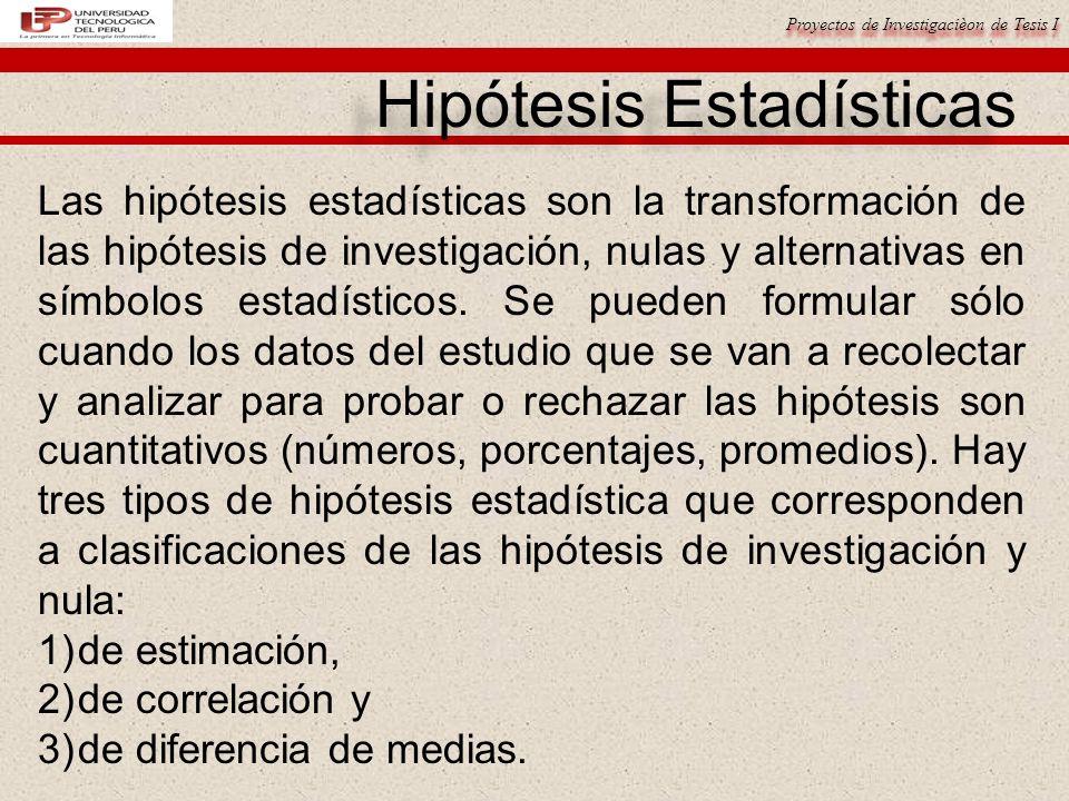 Hipótesis Estadísticas