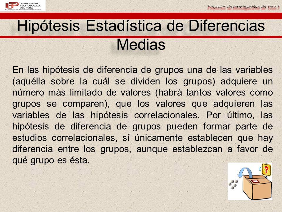 Hipótesis Estadística de Diferencias Medias