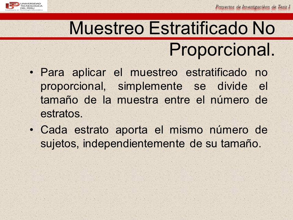 Muestreo Estratificado No Proporcional.