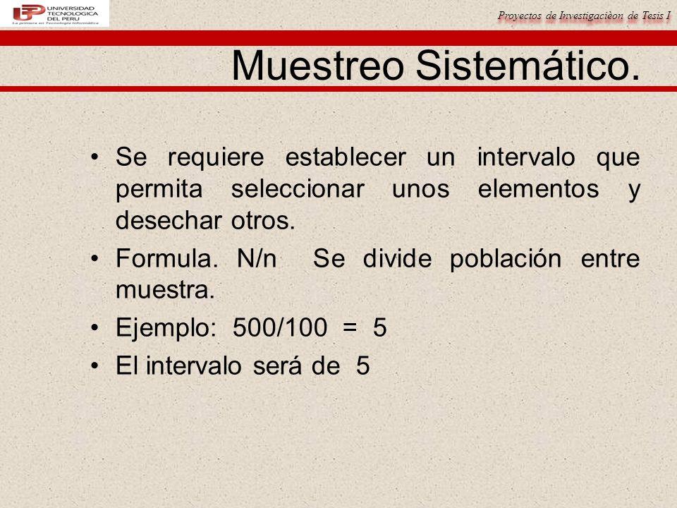 Muestreo Sistemático. Se requiere establecer un intervalo que permita seleccionar unos elementos y desechar otros.