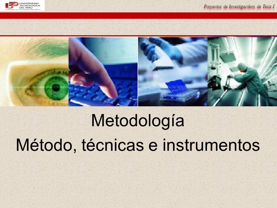 Metodología Método, técnicas e instrumentos