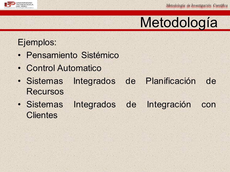 Metodología Ejemplos: Pensamiento Sistémico Control Automatico