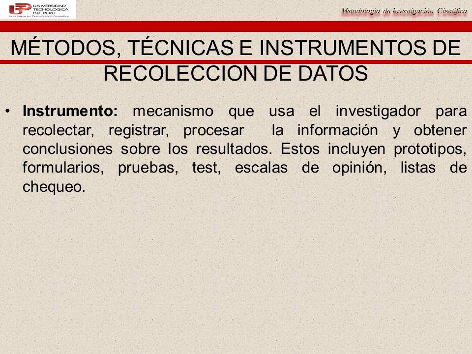 MÉTODOS, TÉCNICAS E INSTRUMENTOS DE RECOLECCION DE DATOS