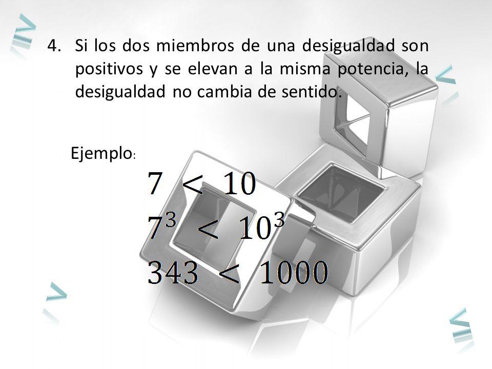 ≥ Si los dos miembros de una desigualdad son positivos y se elevan a la misma potencia, la desigualdad no cambia de sentido.