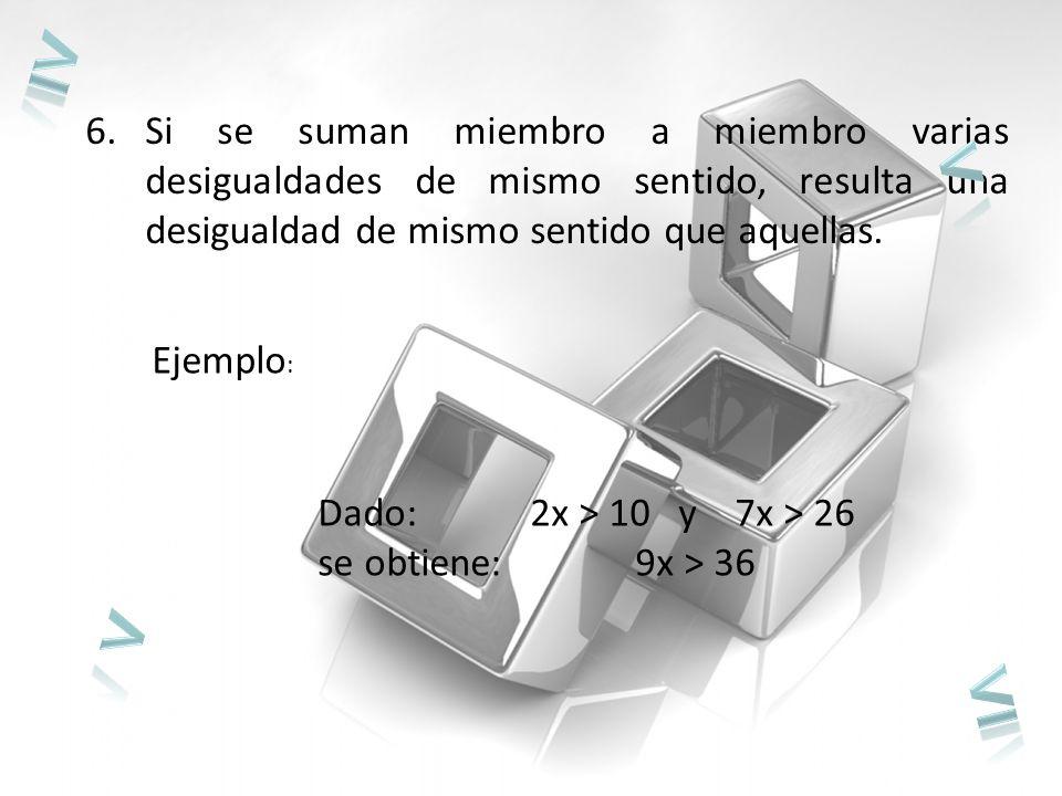 ≥ Si se suman miembro a miembro varias desigualdades de mismo sentido, resulta una desigualdad de mismo sentido que aquellas.