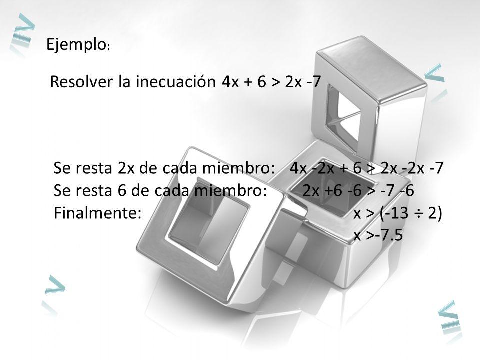 ≥ < > ≤ Ejemplo: Resolver la inecuación 4x + 6 > 2x -7