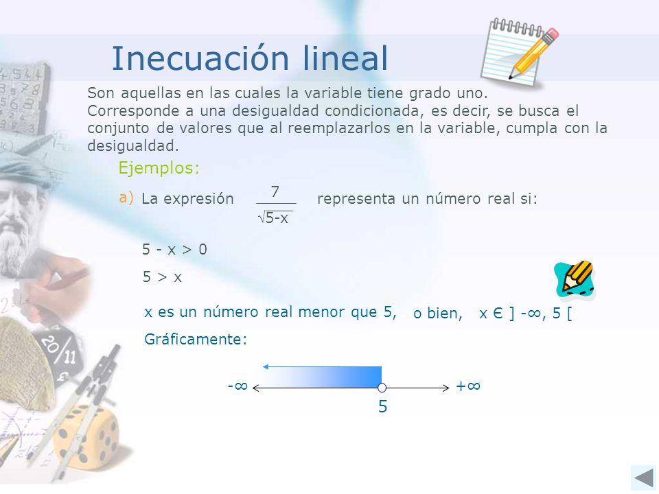 Inecuación lineal Ejemplos: 5
