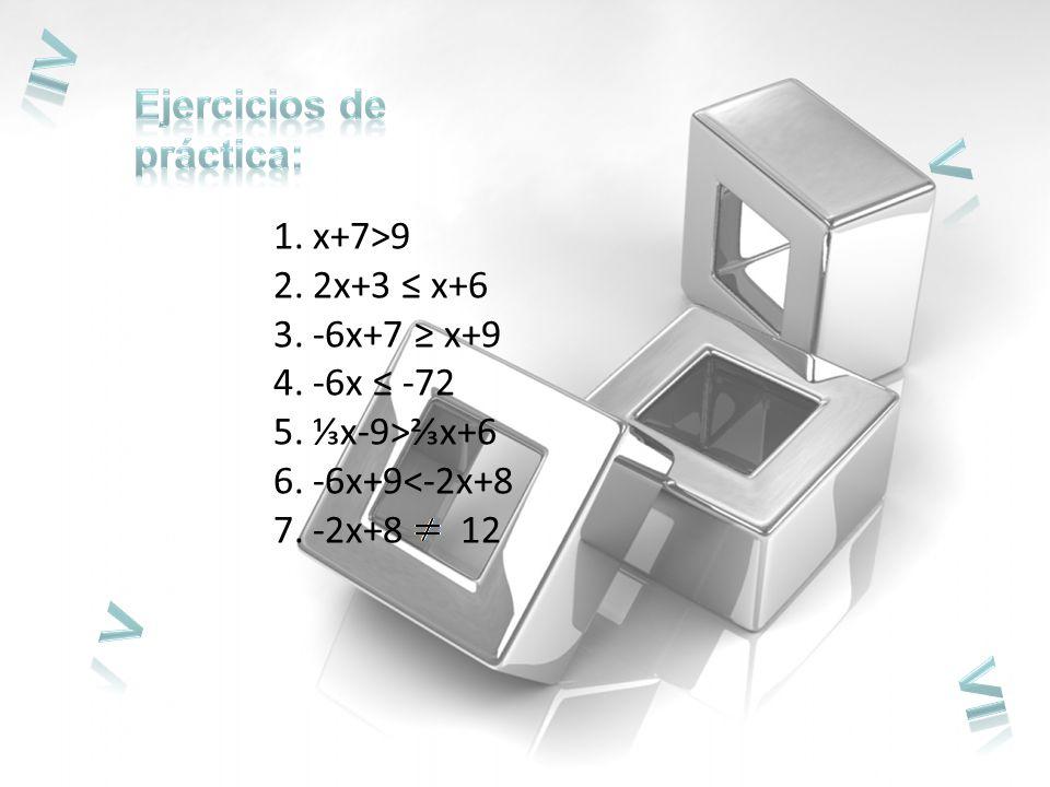 ≥ < > ≤ Ejercicios de práctica: x+7>9 2x+3 ≤ x+6 -6x+7 ≥ x+9
