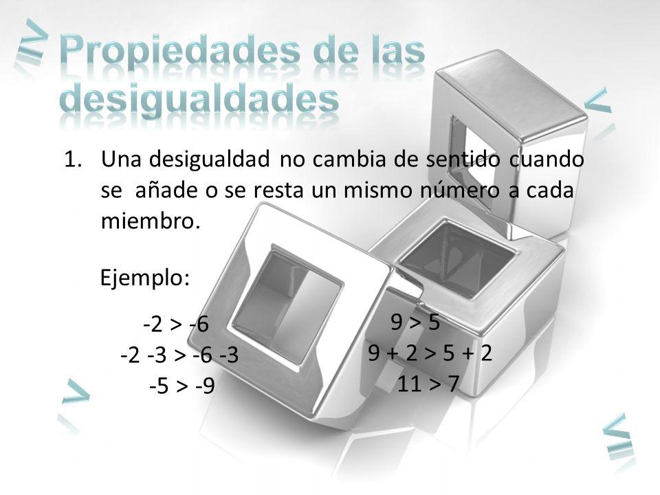 ≥ < > ≤ Propiedades de las desigualdades