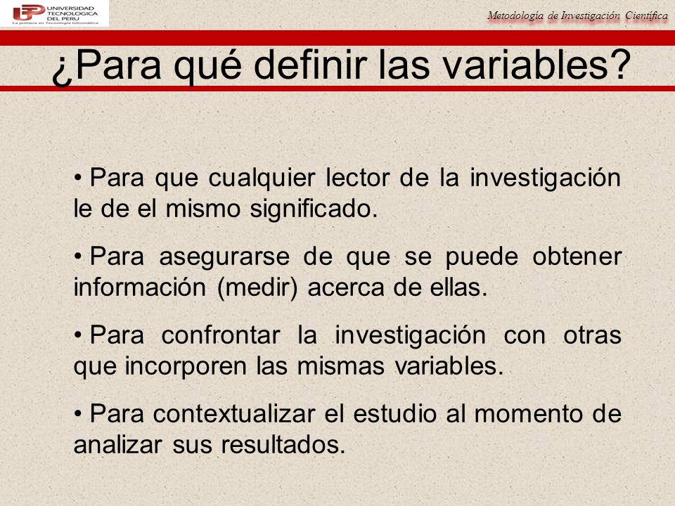 ¿Para qué definir las variables
