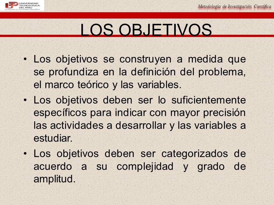 LOS OBJETIVOS Los objetivos se construyen a medida que se profundiza en la definición del problema, el marco teórico y las variables.
