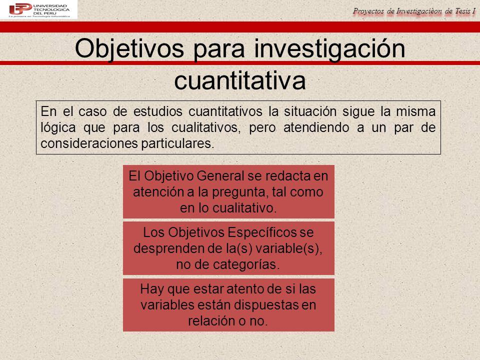 Objetivos para investigación cuantitativa