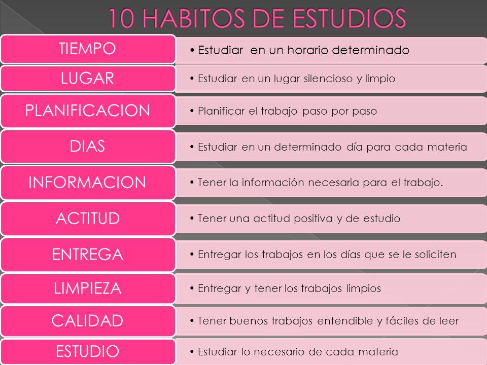 10 HABITOS DE ESTUDIOS Estudiar en un horario determinado