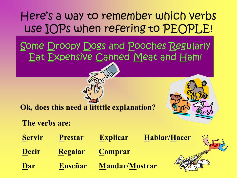 Here's a way to remember which verbs use IOPs when refering to PEOPLE!