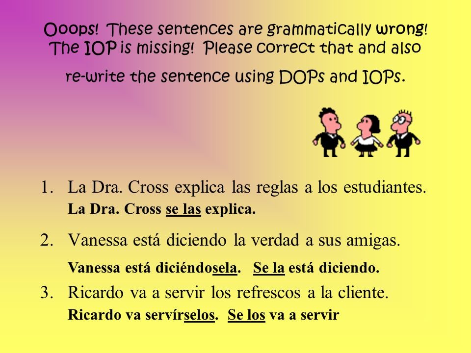 La Dra. Cross explica las reglas a los estudiantes.