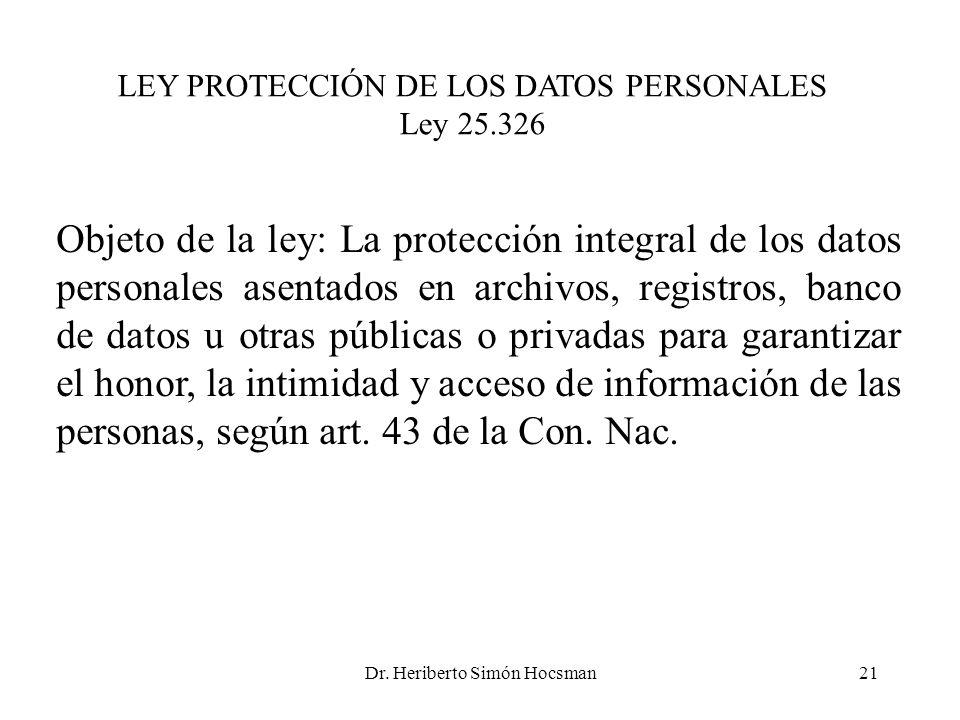 LEY PROTECCIÓN DE LOS DATOS PERSONALES