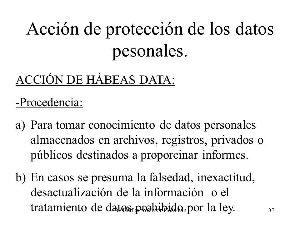 Acción de protección de los datos pesonales.