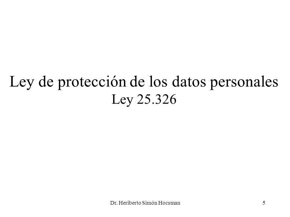 Ley de protección de los datos personales